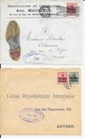 2 X Lettre Deutsches Reich  - BRUXELLES Chaussures Machiels  + CHARLEROI - Guerre 14-18