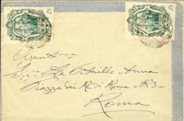 1943- Busta Affrancata Con Due Esemplari Del 25c.verde Galileo Galilei - Marcofilía