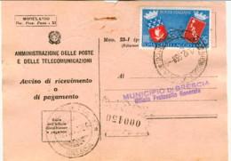 1959-avviso Di Ricevimento Affrancato L.25 Gemellaggio Roma Parigi Cat.Sassone Euro 20 - 6. 1946-.. Repubblica