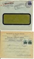 2 X Lettre Deutsches Reich  - LIÈGE  Vve Chainaye-Discry  +  ANDRIMONT  Chaussure Victor Groulard - WW I