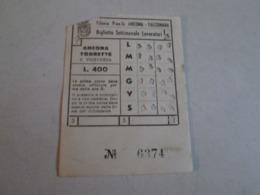 Biglietto FILOVIA ANCONA-TORRETTE E Viceversa Biglietto Settimanale Lavoratori Anni 40/50/60 - Tram