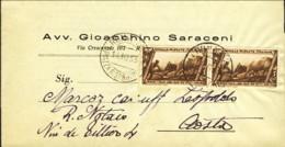 1933- Piego A Stampa Affr. Coppia 5c.Decennale Cat.Sassone Euro 60 - 1900-44 Vittorio Emanuele III