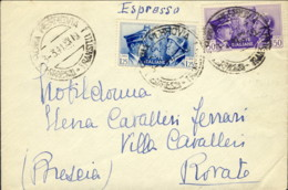1941- Busta Espresso Diretta A Rovato Brescia Affr. 50c.+L.1,25 Fratellanza D'armi Italo-tedesca - Marcofilía