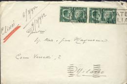 1942- Busta Con Lettera Da Clinci Bocche Di Cattaro Affr. Coppia 25c. Fratellanza D'armi Italo-tedesca Annullo Meccanico - 1900-44 Vittorio Emanuele III
