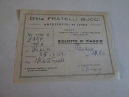 Biglietto Bus RIMINI-PESARO Scritto A Mano  Autolinee Fratelli Bucci   40/50/60 - Autobus