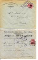 2 X Lettre Deutsches Reich  - FRAMERIES  Chaussure Quenon  +  TOURNAI Auguste Ryckaert Toiles Et Bâches - WW I