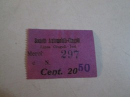 Biglietto Bus Linea CINGOLI-JESI Societa Automobili CINGOLI Anni    40/50/60 - Autobus
