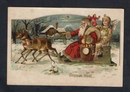 Très Jolie Carte Du Père Noël, En Traîneau. Un Ange L'accompagne - Jouets - Rennes - Altri