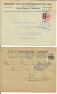 2 X Lettre Deutsches Reich  - ANVERS  Loewenstein  +  Réunion Charbonnages Belges - WW I