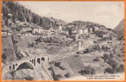 """FINHAUT  Suisse   Vue Générale  1350m     """"  Ligne Martigny-Chamonix  """"    CPA    Postée Le 17 7 1914     Num 4630 - VS Valais"""