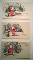 Lot 3 Cartes De Noël Anciennes Vierges En Relief  / Joyeux Noël Santa Claus - Karten