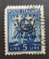 1945-7 Italy Used Stamp 5 Lire Over-printed-Savona No DK-393 - Sin Clasificación