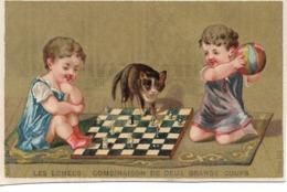 CARD SCACCHI  CROMOLITO 11,5X7,2 COMBINAISON DE DEUX GRANDS COUPS BIMBI GATTO DUE SCANNER -2-0882-29250-251 - Ajedrez