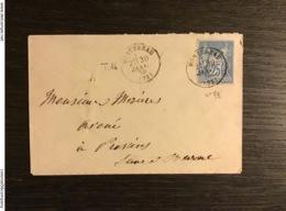 SAGE N°79 Obl. T.16 MONTEREAU (73) / Lettre (1878). SEINE ET MARNE. TTB - Marcofilie (Brieven)