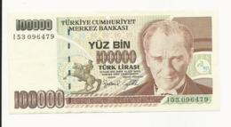 Turkey 100000 Lira EF Or Near - Turkije