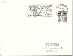 REUNION - LETTRE FLAMME ST ANDRE CENTRE D'EXCURSIONS GORGES RIVIERE DU MÂT - ST ANDRE 17.6.1967  / 1-R29 - Cartas