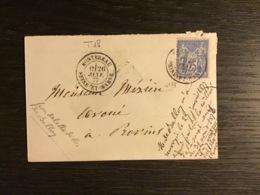 SAGE N°78 Obl. T.18 MONTEREAU SEINE ET MARNE / Lettre (1877). TB - Marcofilie (Brieven)