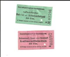 2 Tickets Anciens. Luftschiffstation. Vierwaldstättersee (Lucerne) Suisse. Voir Description - Transporttickets
