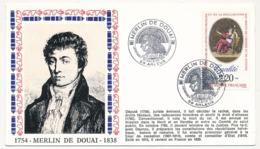 """Enveloppe - Cachet Temporaire """"MERLIN DE DOUAI"""" (Député En 1789) - 59 ARLEUX - 13-14 Juillet 1989 - French Revolution"""