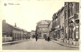 Fleurus - La Gare (animée, Oldtimer, Coiffeur, Tabacs Cigares, Edit. Stoclet) - Fleurus