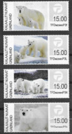 GREENLAND, 2019, MNH, FRANKING LABELS, BEARS, POLAR BEARS, 4v NICE! - Bears