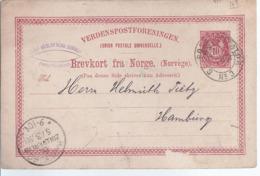 AK-div-32- 861 -  Norwegen     Ganzsache -  Kristiandsund Nach Hamburg 1888 - Ganzsachen