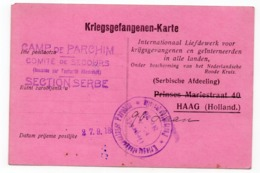 21.09.1918. WWI, GERMANY, CAMP DE PARCHIM TO HAAG, HOLLAND, POW WWI, RED CROSS SERBIAN SECTION HAAG - Covers & Documents