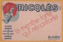 BUVARD Illustré - BLOTTING PAPER - RICQLES - Alcool Menthe - La Menthe Forte Qui Réconforte - Edit. IDEA Saint Ouen - Papel Secante