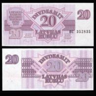 Латвия 20 рублей 1992 года  - UNC - Letland
