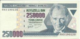 Turkey ; 1998 250000 Turkish Liras Serial H - Türkei