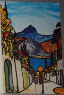 Petit Calendrier De Poche 1984  Illustration Paysage Du Sud   Original.peint Avec La Bouche - Calendars