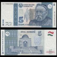 Таджикистан 5 самони  1999 года (Модификация 2010 года - Синий столик) - UNC - Tadzjikistan