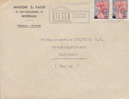 France MAISON S. FAGE Slogan Flamme 'UNESCO' BORDEAUX Gironde 1959 Cover Lettre BERTHOD Suisse 2x Marianne á La Nef - 1959-60 Marianne (am Bug)