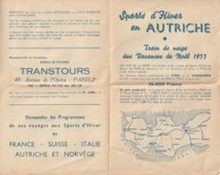 Programme De Voyage Aux Sports D'Hiver En Autriche. Train De Neige Des Vacances De Noël 1955. Excursion. Tarif. - Programas