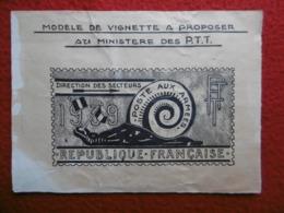 POSTE AUX ARMEES 1939 MODELE DE VIGNETTE A PROPOSER AU MINISTERE DES P T T - Proofs