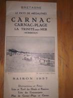 CARNAC Depliant Touristique Année 1938 - Tourism Brochures