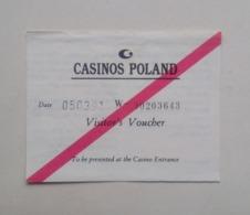 Casinos Poland Pologne Warsaw Varsovie Visitor's Voucher Casino Card Carte De Casino 1991 - Casino Cards