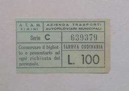 Italy Italie Italia Rimini ATAM Bus Autobus Ticket Billet Biglietto 70's - Bus