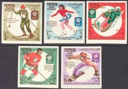 "1968-(MNH=**) Yemen Repub.Araba S.5v."" Olimpiadi Invernali Grenoble""non Dentellati - Winter 1968: Grenoble"