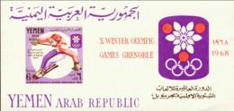 """1968-(MNH=**) Yemen Repub.Araba Foglietto Un Valore """"Olimpiadi Invernali Grenoble"""" Non Dentellato - Winter 1968: Grenoble"""