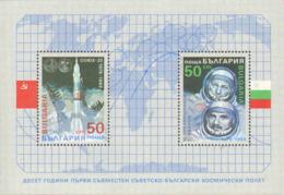 """1989-(MNH=**) Bulgaria Foglietto S.2v.""""10 Anniversario Del I Volo Spaziale Congiunto Russo Bulgaro""""cat.Yvert Euro 3 - Bulgaria"""