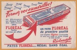BUVARD Illustré - BLOTTING PAPER - Pâtes FLOREAL Régal Sans égal - Formez Vos Escadrilles - Avion - Alimentare