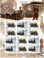 Belarus 2004 . Locomotives. Sheetlet Of 12 (6 Sets).  Michel # 547-48  Bg. - Bielorussia