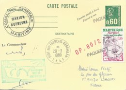 """TAAF - Port Aux Français-Kerguelen: Entier Postal 1814-CP1 """"Marion-Dufresne"""" Avec Timbre N°2035 Martinique - 20/03/1980 - French Southern And Antarctic Territories (TAAF)"""