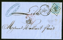 """BELGIQUE 1866 TARIF FRONTALIER N° 18 Obl. Pc """"363"""" + C-à-d """"TOURNAY 15/07/66"""" + """"PD"""". Lettre Datée De Warchin - 1865-1866 Profile Left"""