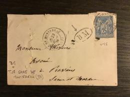 SAGE N°78 Obl. T.17 GARE DE MONTEREAU (73) / Lettre (1878) + BM. SEINE ET MARNE. TB - Marcofilie (Brieven)