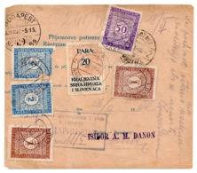 1922 CZECHOSLOVAKIA TO SARAJEVO,BOSNIA,JUDAICA,YUGOSLAVIA,PARCEL CARD,ISIDOR A.M.DANON,POSTAGE DUE,REVENUE STAMP, - Tchécoslovaquie