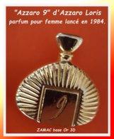 SUPER PIN'S PARFUMS : AZZARO 9 D'AZZARO LORIS, Parfum Pour Femme Lancé En 1984, ZAMAC 3D Or, Format 2,5X2,8cm - Parfum