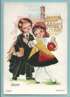 Carte Brodée Portugal  37 Coimbra Illustrateur Isabel Couple Etudiant -- - Embroidered