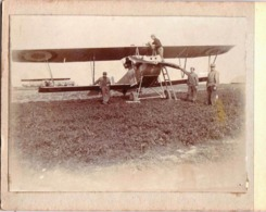 Photo Albuminée Sur Carton : Avion Biplan Militaire à Montargis ? (45)    Animée - Luchtvaart